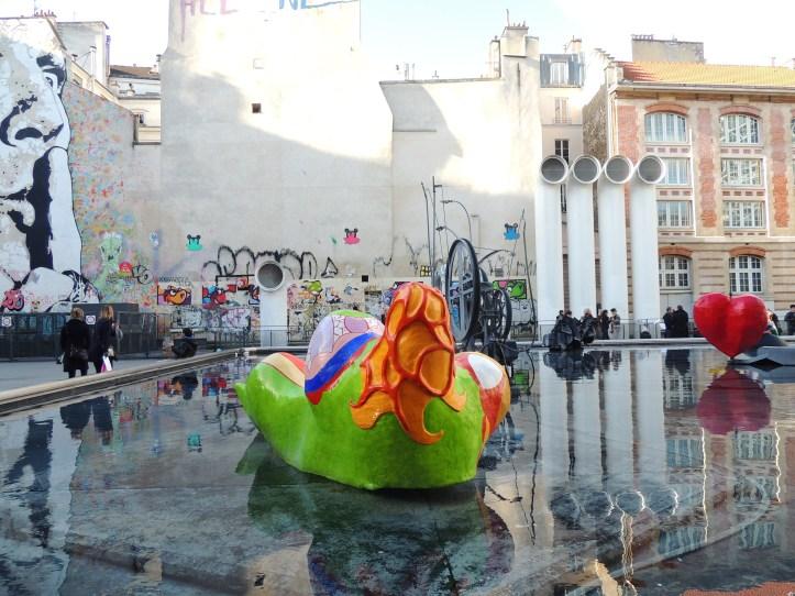 Les Halles Fontaine Niki de Saint-Phalle et Jef aerosol